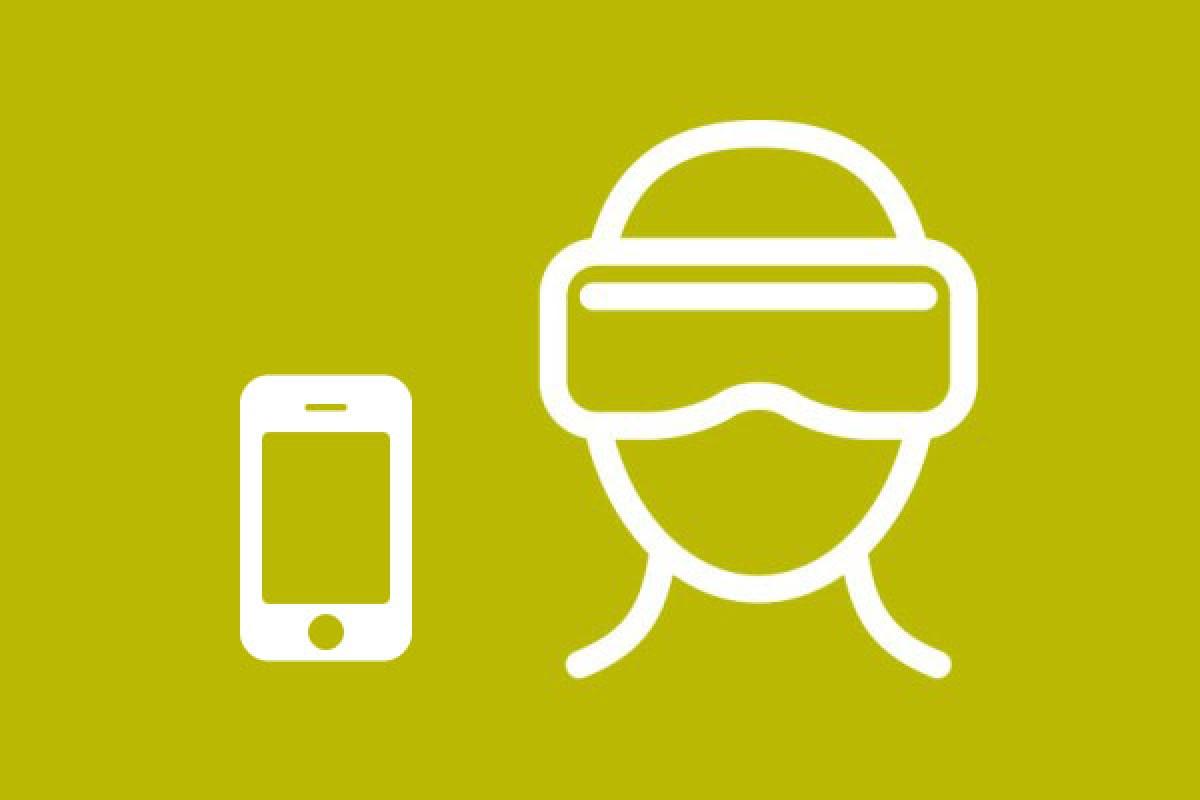 Ikona mobilného telefónu a okuliarov VR